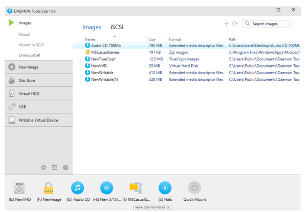 """DAEMON Tools Lite 10.10 Portable software provides easy tools for creating disk image files and simulating virtual CDs, DVDs, and Blu-ray drives. Finally, DAEMON Tools Lite Portable can be considered a professional tool for the Windows operating system, which is recognized as one of the best optical disk emulators in its industry. Download DAEMON Tools Lite 10.10 Portable is a light version of three Lite, Pro, and Ultra versions, with fewer features than two other versions. The main purpose of this release is to provide soft software for Mount and create a virtual drive for executing image files.DAEMON Tools Lite 10.10 Portable lets you convert physical CD / DVD and Blu-Ray discs to virtual discs. These virtual disks are called """"image"""". You can use these images for multiple purposes. You can create up to four virtual drives and use them to mount and unmount your images. Also, be sure your virtual drives are displayed like a real drive on Windows.FeaturesCreate and edit image files.Create bootleg discs.Mount and create a virtual drive for executing image files.Build a virtual drive to run games.Supports most image formats.Managing Imagery.Compatibility with a variety of operating systems including Windows 10, 8 and 7."""